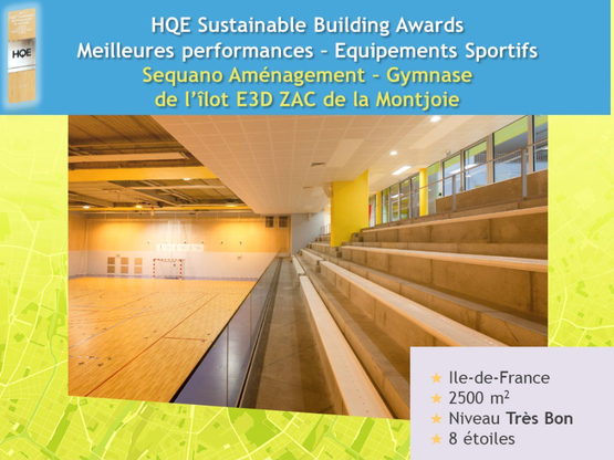 Amoès lauréat des HQE Sustainable Building Awards pour le gymnase de la ZAC Montjoie