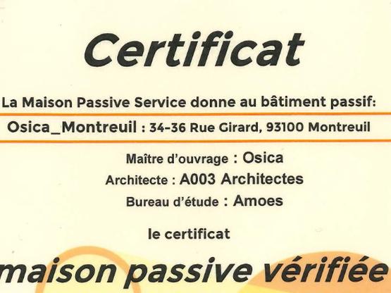 Les logements de Montreuil officiellement labellisés Passivhaus !
