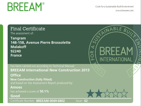Certification BREEAM pour les bureaux TANGRAM à Malakoff !