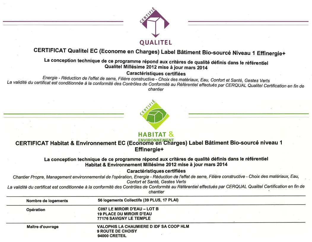 Certificats Valophis 56